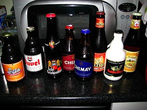 8 Belgian beers. Yummy.